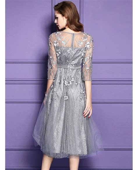 Silver Lace Midi Party Wedding Guest Dress For Fall