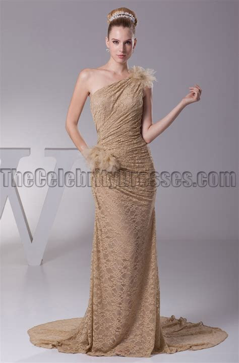 Champagne Lace One Shoulder Prom Gown Evening Dresses