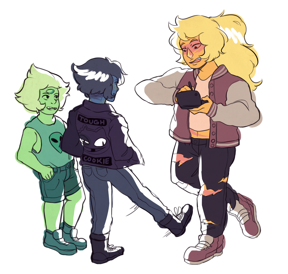 post homeworld trio antics, aka me drawing gems w different fashions