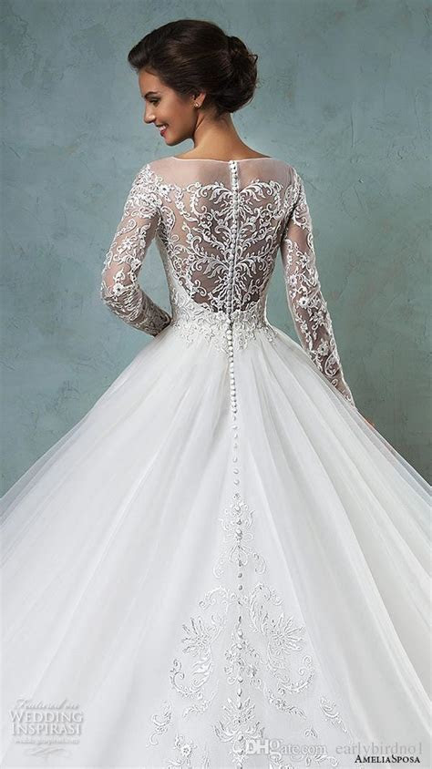 Gorgeous Dresses Sheer Bateau Long Sleeve Wedding Dresses