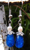 wire wrapped dangle earrings with blue teardrop beads and pearl