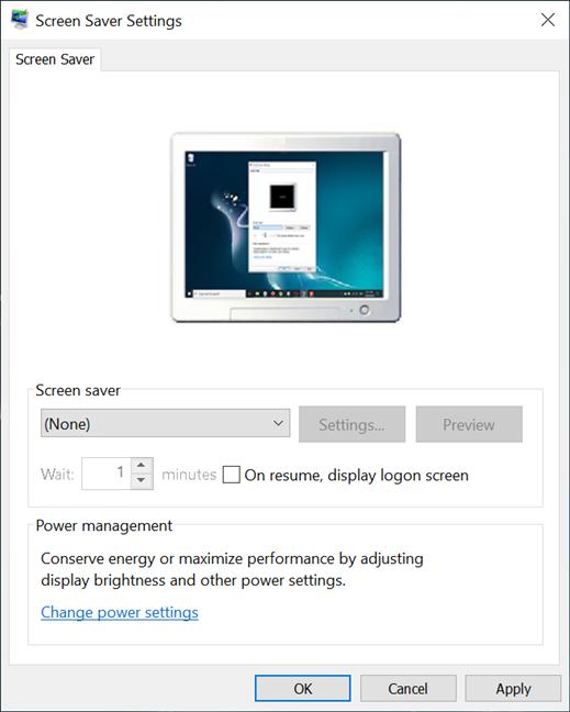 La ventana de configuración del protector de pantalla de Windows 10