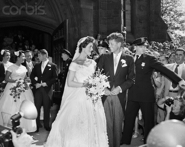 John and Jacqueline Kennedy After Wedding Ceremony