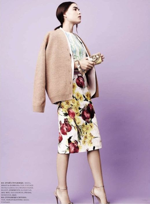 HARPERS BAZAAR RUSSIA BAMBI NORTHWOOD-BLYTH FLORAL SPRING 2012 MIX PRINT MIU MIU FUR PAINT BRUSH MARKS WHITE HEELS BOW TIES PLAID PASTELS LIGHT PINKS BLUES CELINE SHORTS MIDI SKIRT 3