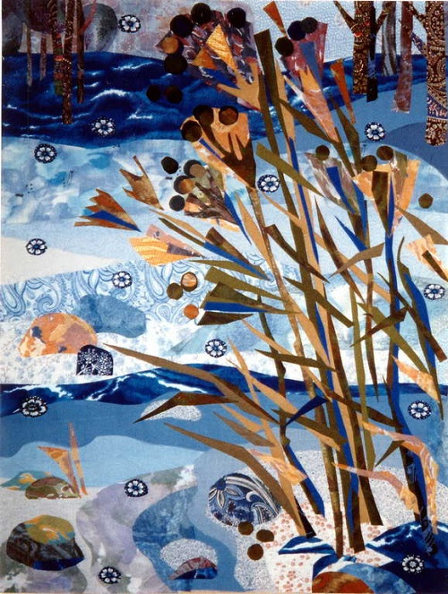 Dry grass in the wind. Textile collage by Russian artist of applied art Valentina Maximova