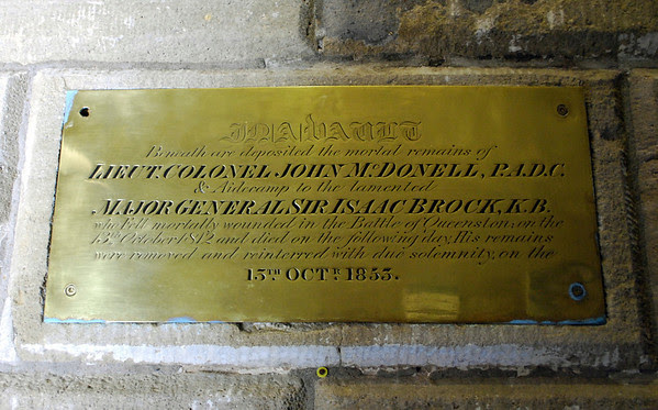 Burial plaque for Lt Colonel John McDonell and Major General Sir Isaac Brock inside Brock's Monument.