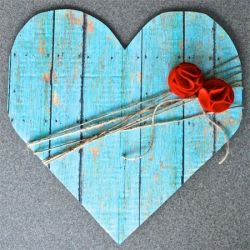 Get ready for Valentine's. Simple DIY faux wood heart decor.