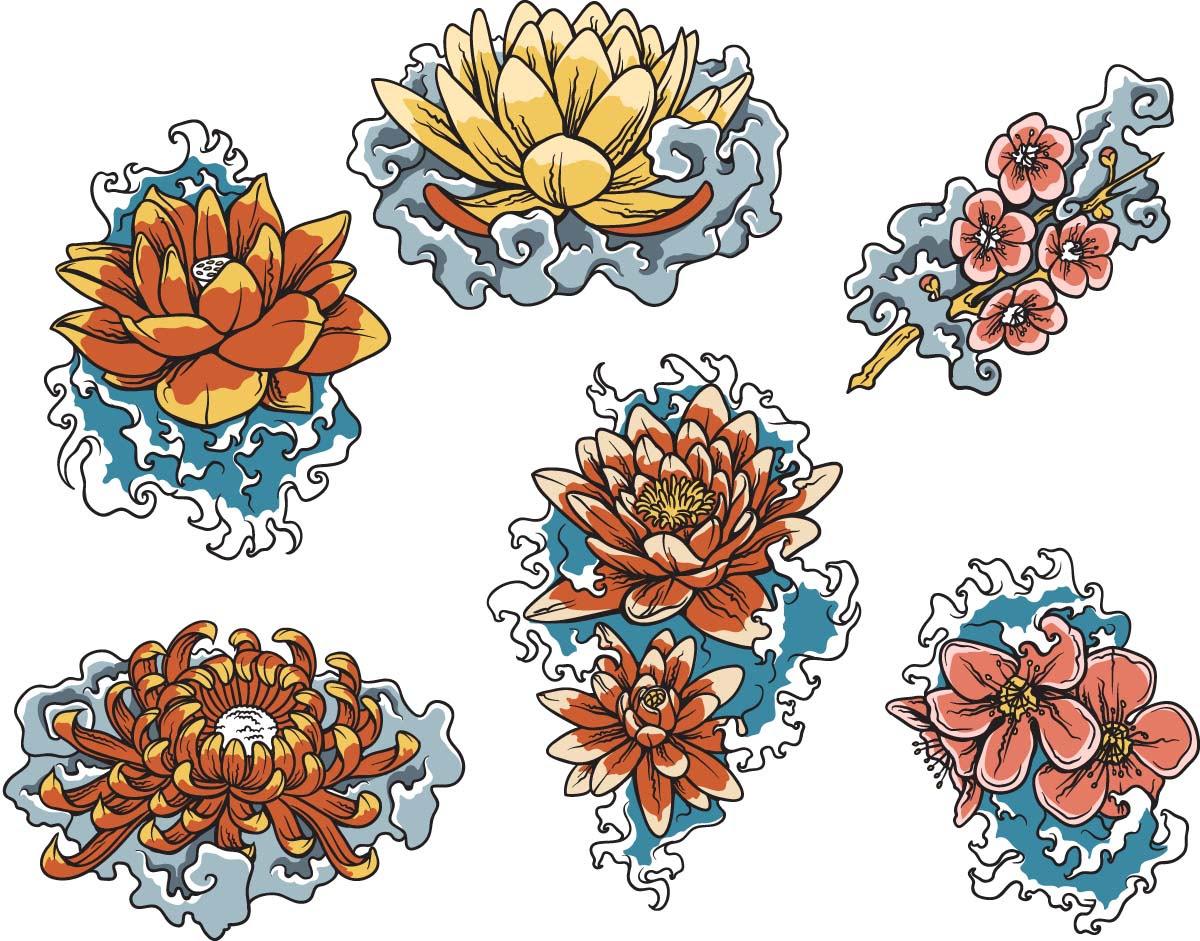 Japanese Floral Lotus Decorative Set Free Download