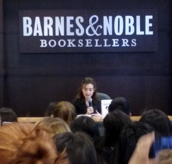 Lily Collins begins discussing her new book UNFILTERED at The Grove's Barnes & Noble bookstore in Los Angeles...on March 11, 2017.
