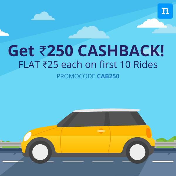 Get flat  ₹25 Cashback each on first 10 Cab Rides on Niki App