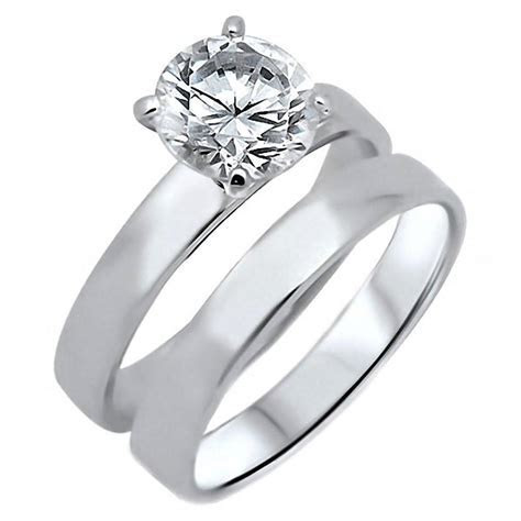 Adelle: 2.0ct Russian Ice on Fire CZ 2 pc Wedding Ring Set
