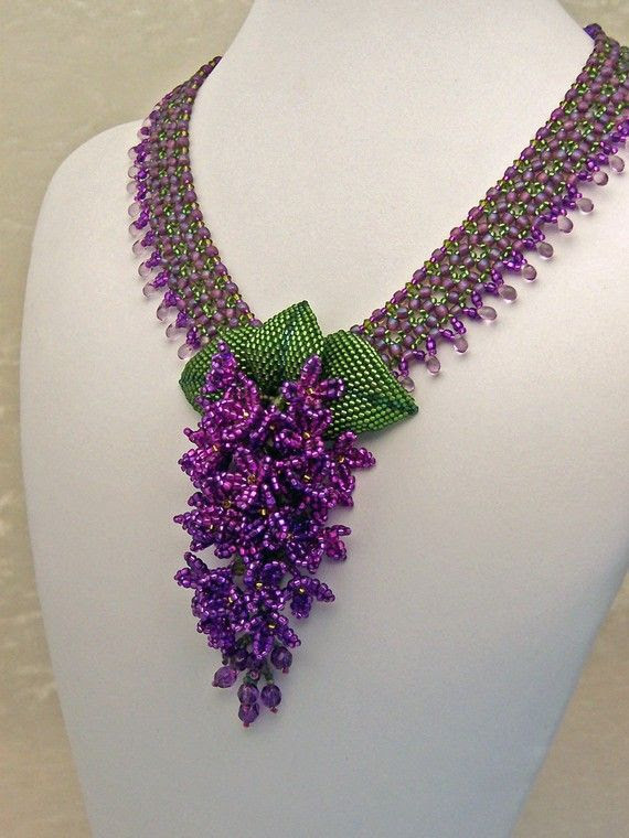 Raindrops on Lilacs Beadwork Necklace by HauteIceBeadwork on Etsy, $ 395.00