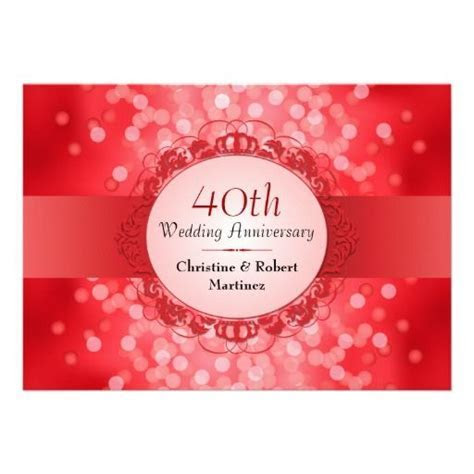Ruby Red Bokeh 40th Anniversary Party Card   Paper