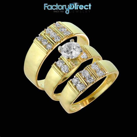 14k Gold 3 Piece Gold Cubic Zirconia Wedding Ring Set For