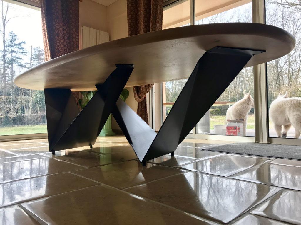 Pied De Table Origami En Acier Plié Et Vernis Fabricant
