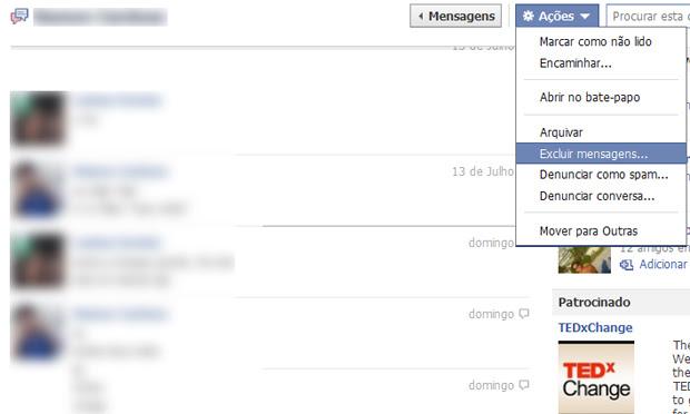 Apagando as conversas do Chat do Facebook