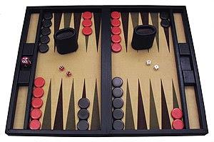 A contemporary backgammon set.
