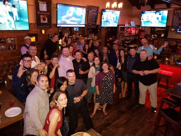 Taking one last group photo at the post-reunion gathering at On the Rocks Bar & Grill in Newport Beach...on October 6, 2018.