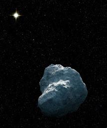 Dibujo de un TNO con el Sol al fondo   NASA, ESA, G. Bacon (STScI)
