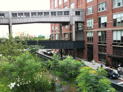 High Line Park, looking at a nearby skybridge