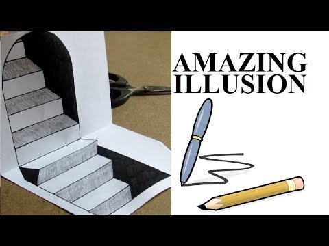 Cute 3D Trick Art on paper   How To Draw 3D Stairs - Step by Step Optical Illusion  for Kids