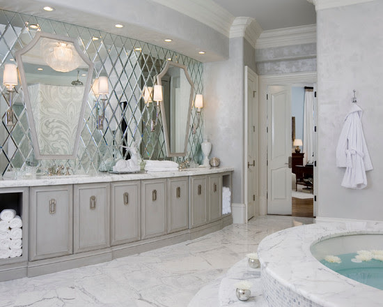 Design Decorating Contemporary Bathroom The Beveled Mirror Wall