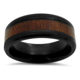 mm polished wood inlay mens black titanium wedding band