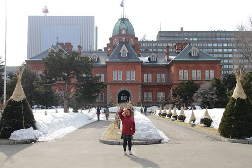 Sister in front of the Former Hokkaido Government Building