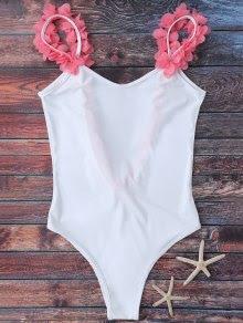 Zaful Floral Strap Low Open Back Swimsuit