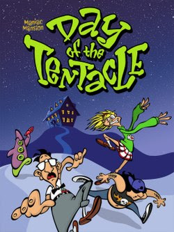 """Artwork of a vertical rectangular box. The top portion reads """"Maniac Mansion Day of the Tentacle"""" with a group of three human characters and a purple tentacle."""