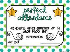 Perfect Attendance Award Certificates   School Certificates ...