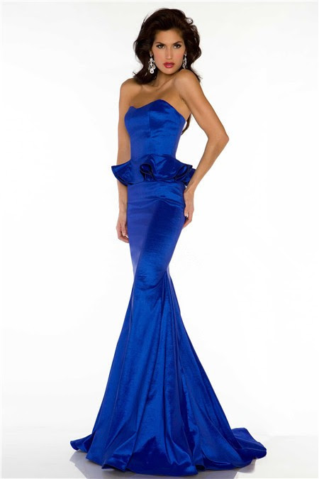 Blue long evening dresses
