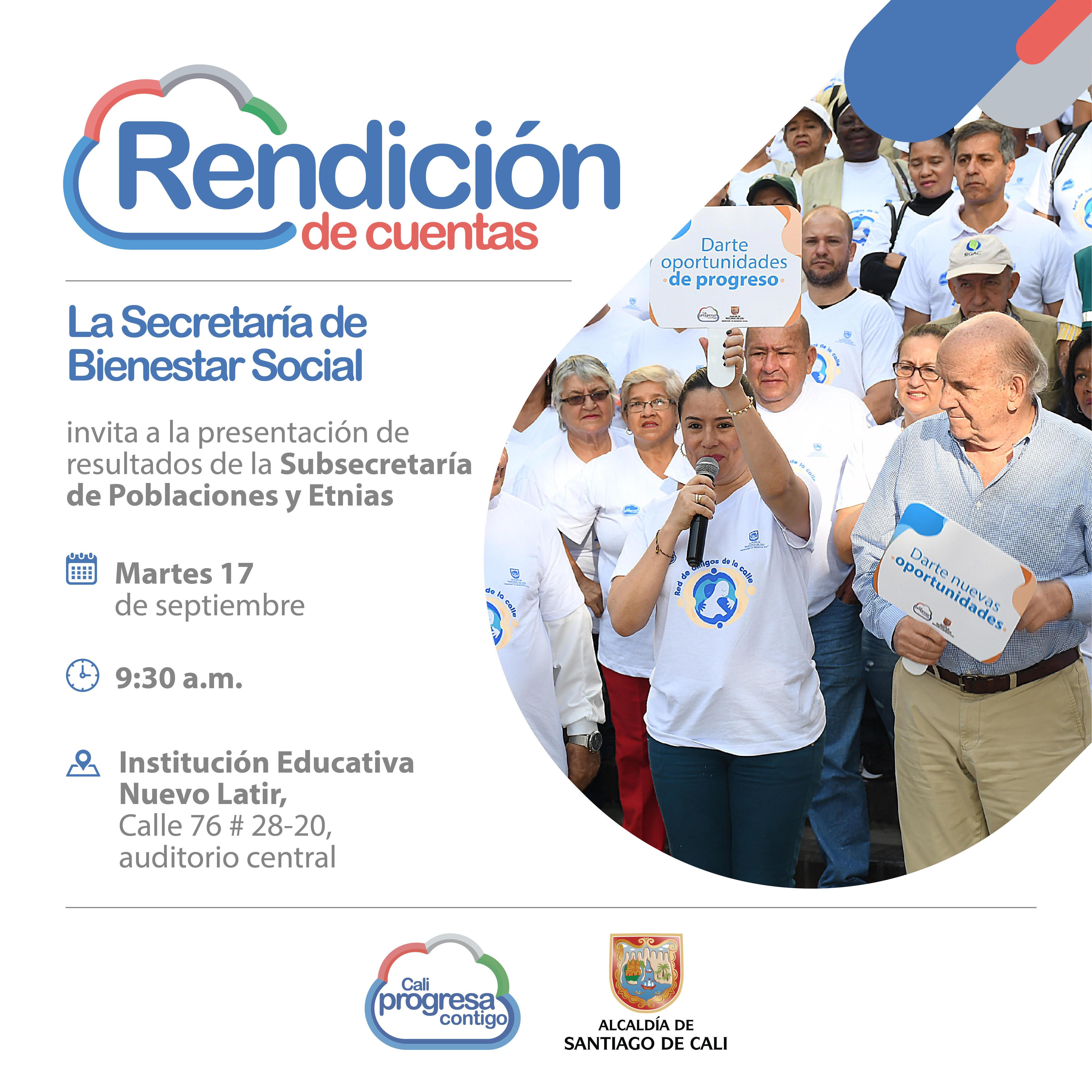 Este martes la Secretaría de Bienestar Social rendirá cuentas sobre la gestión por las poblaciones y etnias de Cali