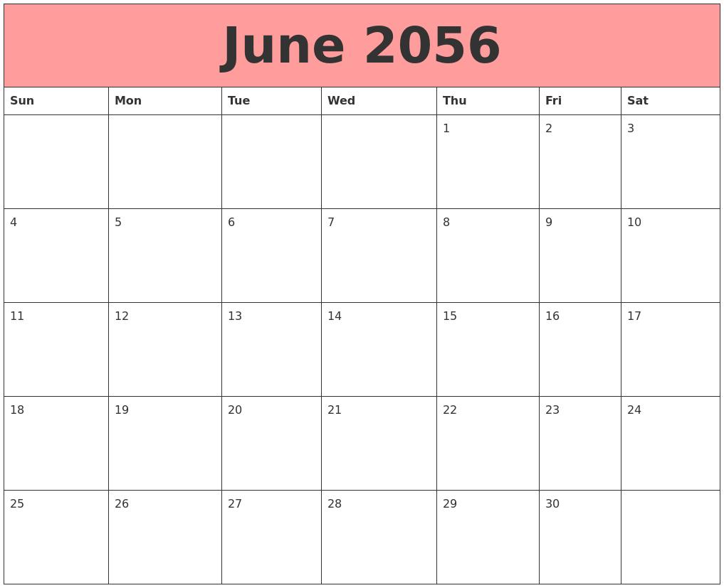 june 2056 calendars that work