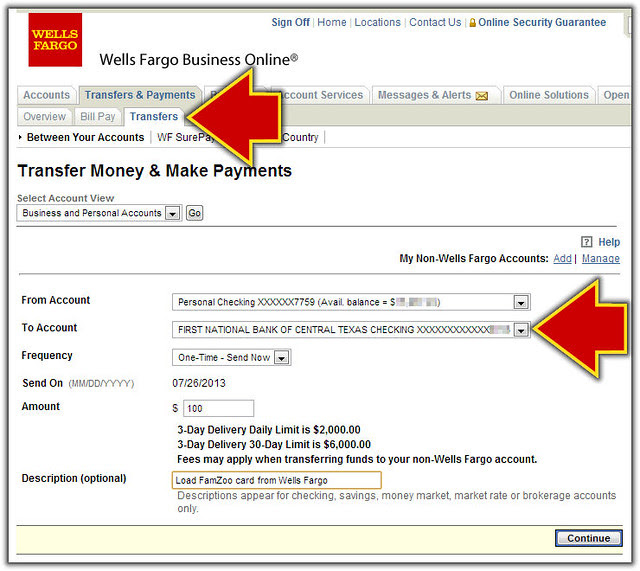 Transfer from Wells Fargo Online to Prepaid Card