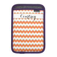 Nectarine Chevron Personalized Ipad Mini Sleeve For iPad Mini
