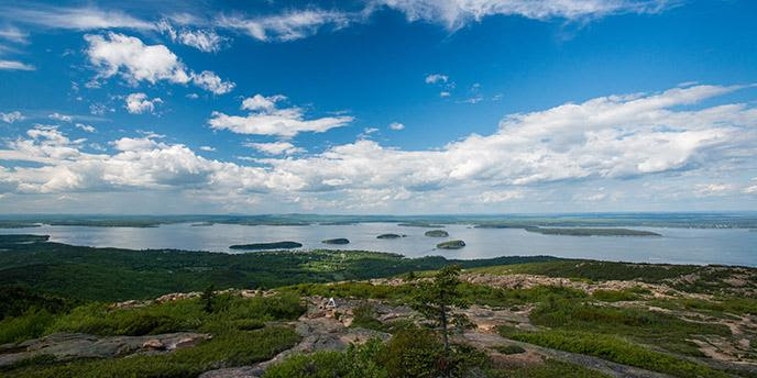 View from Cadillac Mountain looking out over the Porcupine Islands.