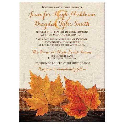 Fall Maple Leaves, Simulated Burlap and Wood Wedding Invite