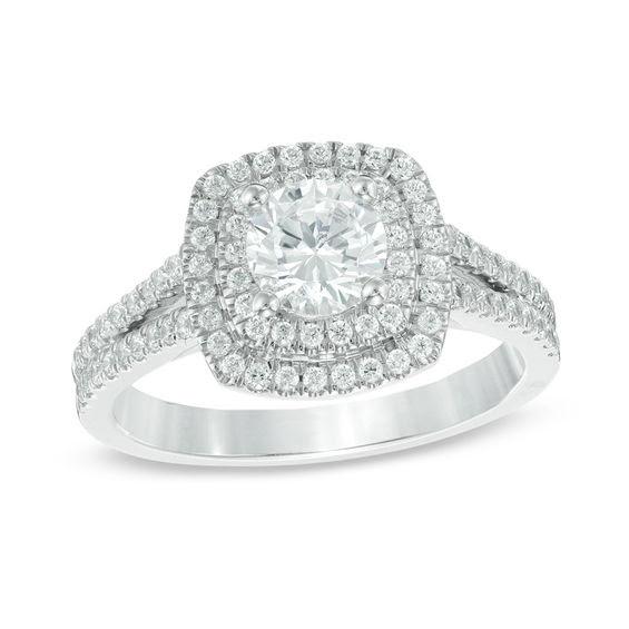 1 15 Ct Tw Diamond Double Square Frame Engagement Ring In 14k