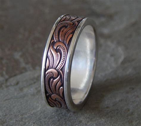PAISLEY Silver & Copper // Men's Wedding Ring // Women's