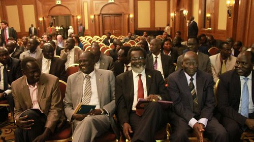 Republic of South Sudan delegation to peace talks in Ethiopia. The talks with ousted Vice President Riek Machar were stalled on January 8, 2014. by Pan-African News Wire File Photos