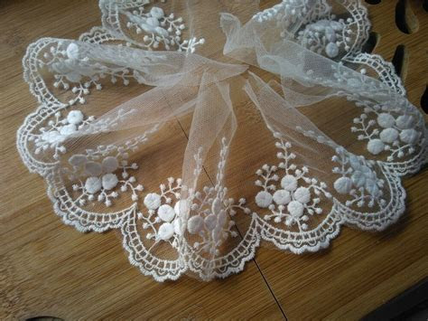 "3Yards*4"" white vintage lace trim  ivory embroidered"