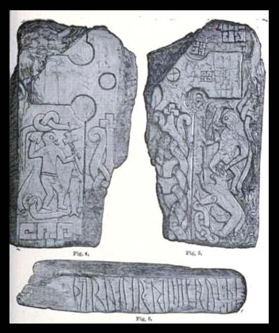 Los grabados de la Cruz de Thorwald según Kirk Andreas, isla de Man. La escena ha sido interpretada como la figura de Odín con un cuervo o águila sobre su hombro, mientras el dios es devorado por el lobo Fenrir en la batalla final de Ragnarök.