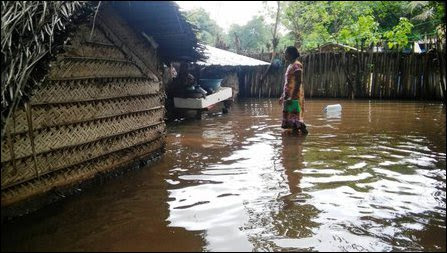 Uprooted people affected by floods in Jaffna