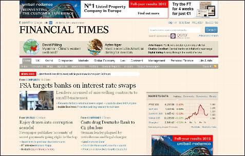 Rajoy, salpicado por un escándalo de corrupción, dice el Financial Times en su portada.