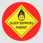 Sleep Deprived Parent Stickers - Red sticker