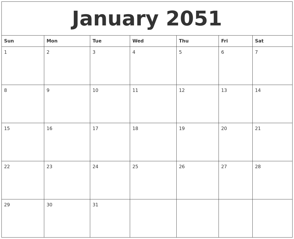 january 2051 editable calendar template