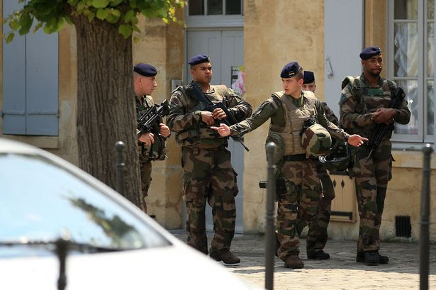 Security presence outside of of the England Team Hotel, Auberge du Jeu de Paume, Chantilly
