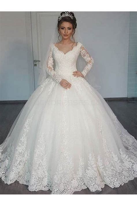 Bridal Ball Gown V Neck Lace Long Sleeves Wedding Dresses