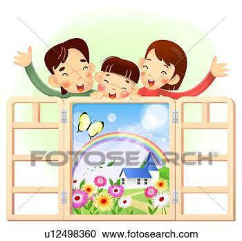 Banque d'Illustrations - parents, onduler,  ouvert, fenêtre.  fotosearch - recherchez  des cliparts,  des illustrations,  des dessins et  des images vectorisées  au format eps
